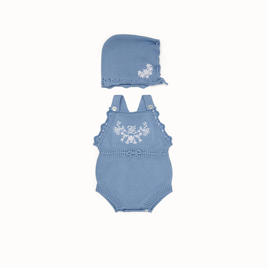 FENDI COTTON AND CASHMERE PLAYSUIT AND BONNET - Cotton and cashmere playsuit and bonnet with embroidery - view 1 detail