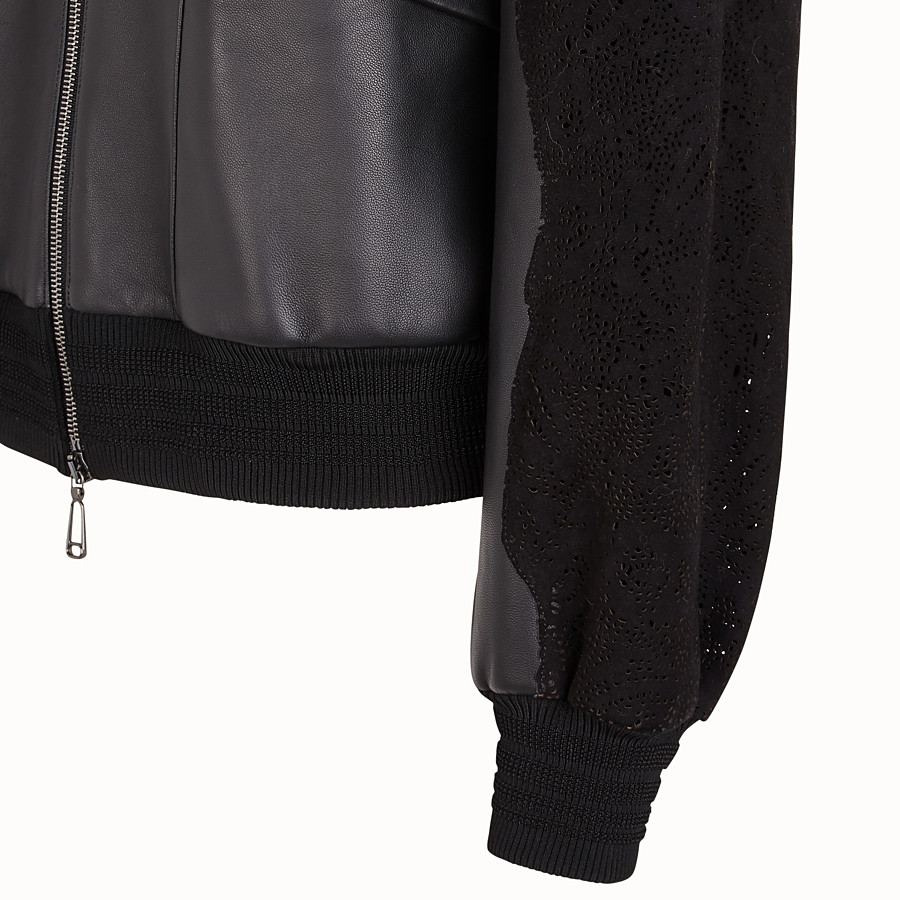 FENDI JACKET - Black leather bomber - view 3 detail