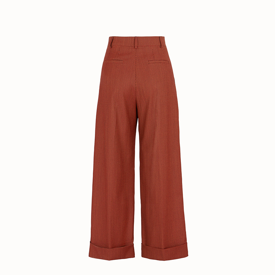 FENDI TROUSERS - Orange jacquard trousers - view 2 detail