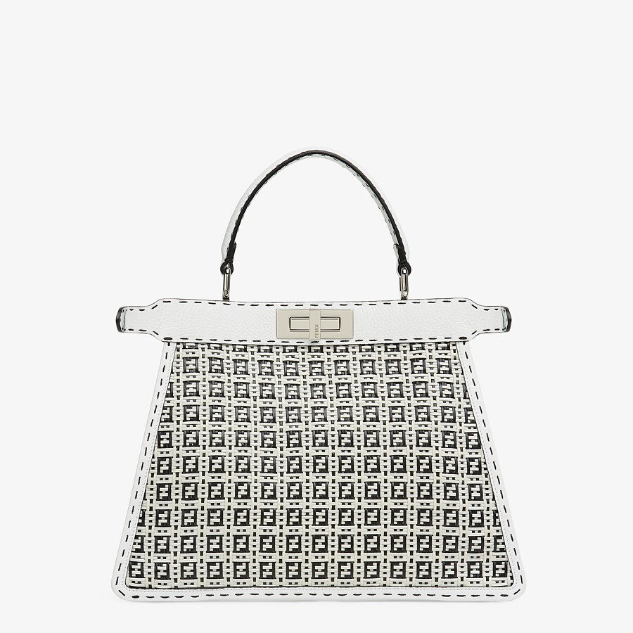 FENDI PEEKABOO ISEEU MEDIUM - Black and white braided leather bag - view 5 detail