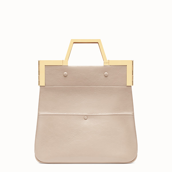 FENDI SMALL FLAT SHOPPING BAG - Pink leather shopper - view 1 small thumbnail