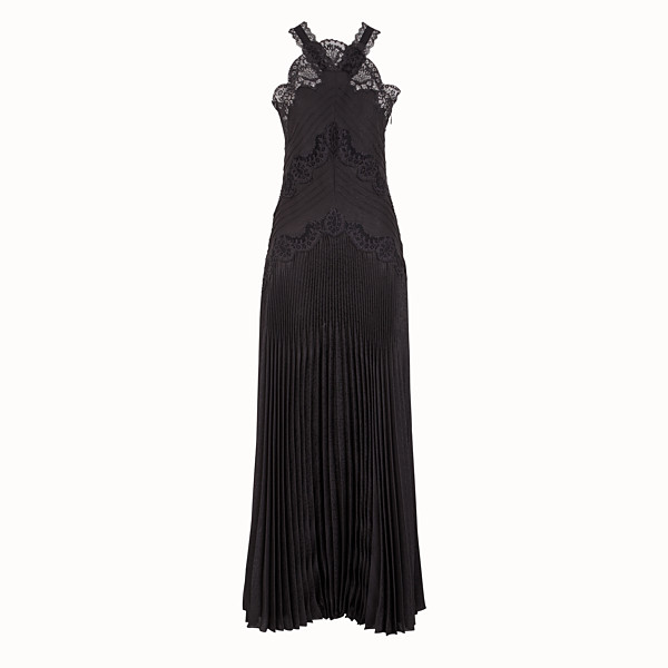 FENDI DRESS - Black jacquard satin dress - view 1 small thumbnail