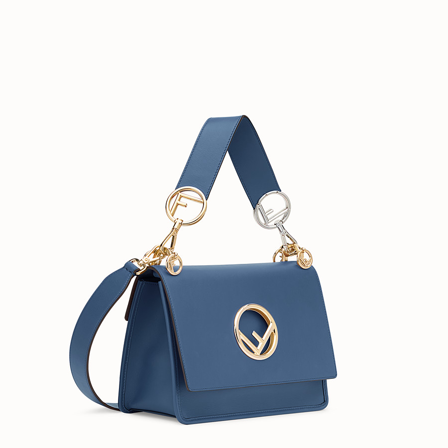 FENDI KAN I LOGO - Blue leather bag - view 2 detail