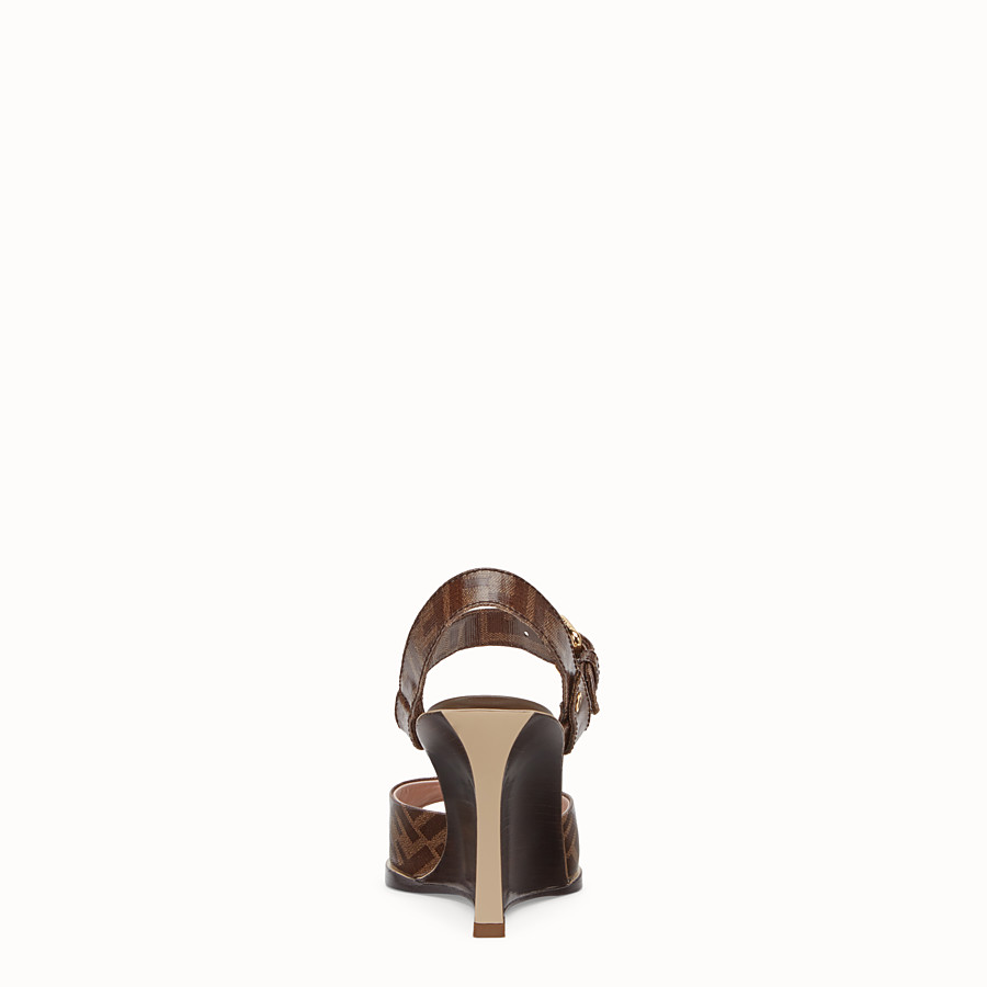 FENDI SANDALS - Brown fabric sandals - view 3 detail