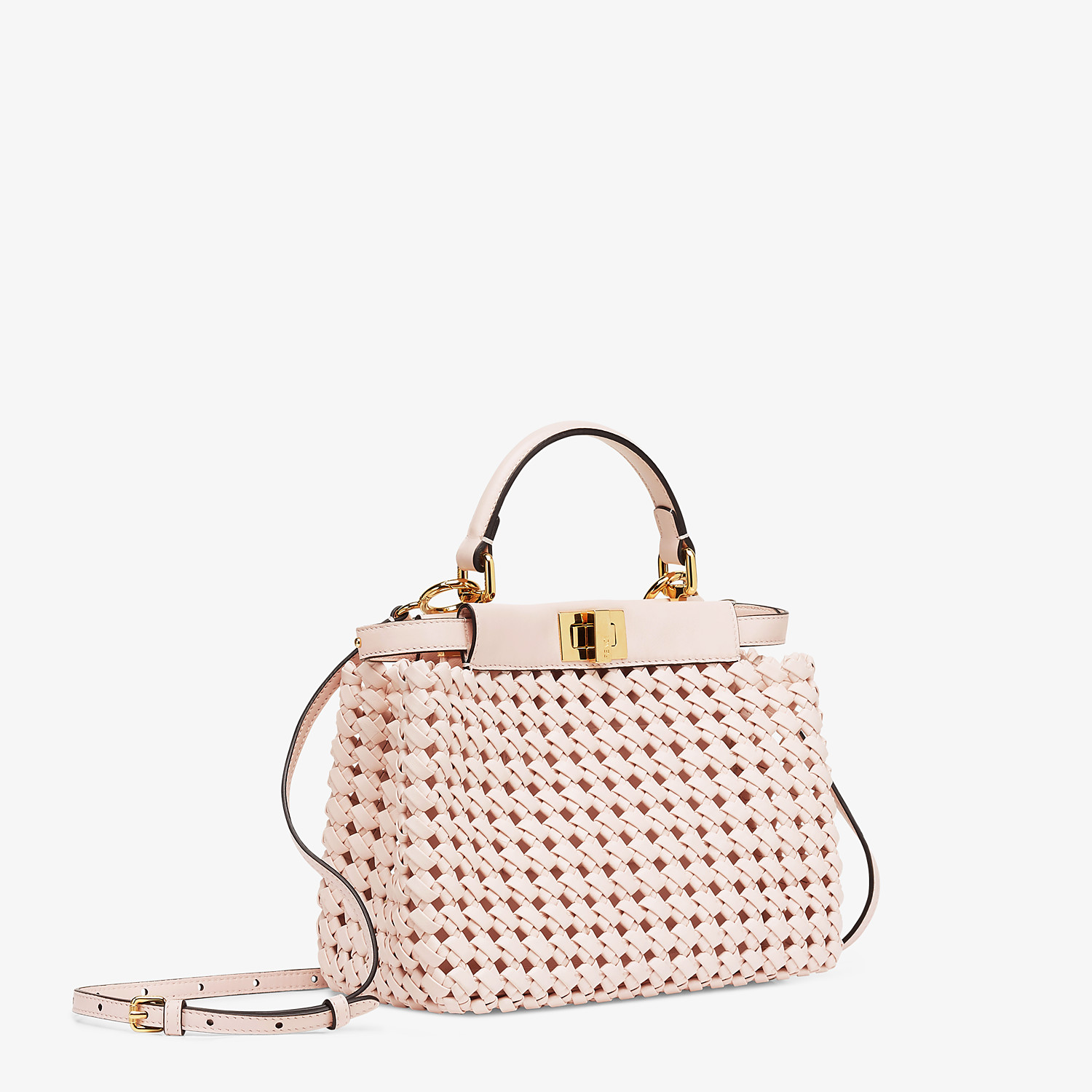 FENDI PEEKABOO ICONIC MINI - Pink leather interlace bag - view 2 detail