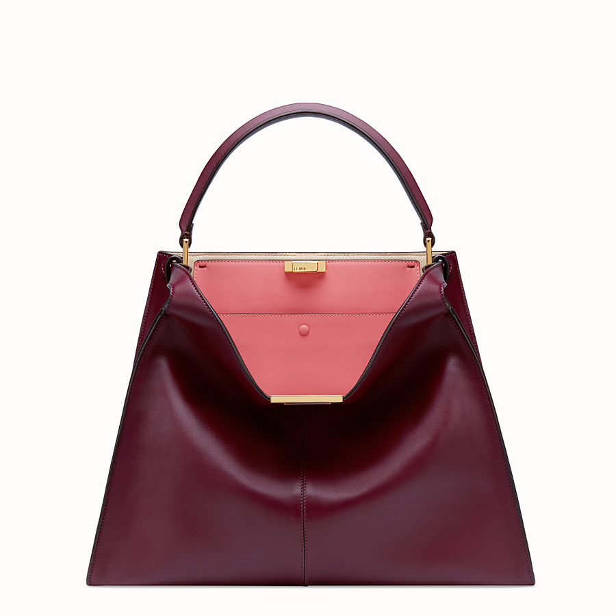 FENDI PEEKABOO X-LITE LARGE - Burgundy leather bag - view 3 detail