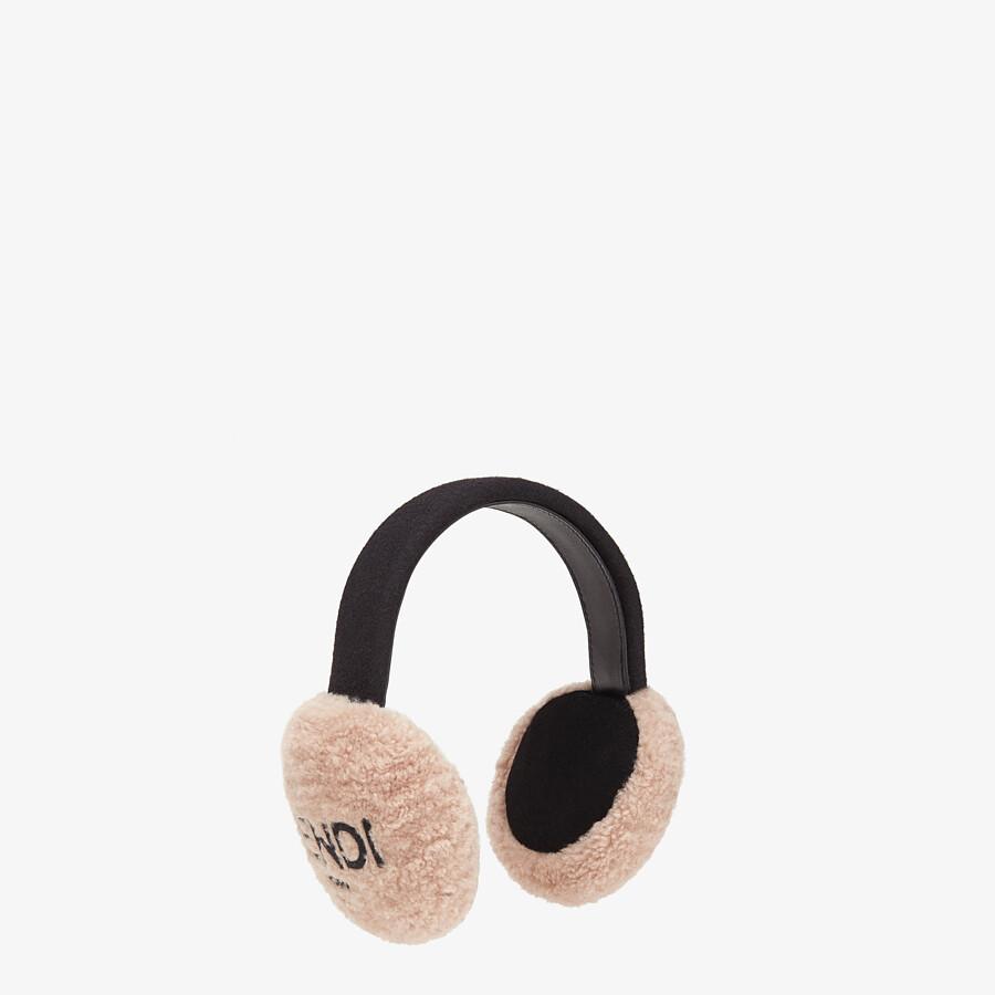FENDI EARMUFFS - Pink shearling earmuffs - view 1 detail