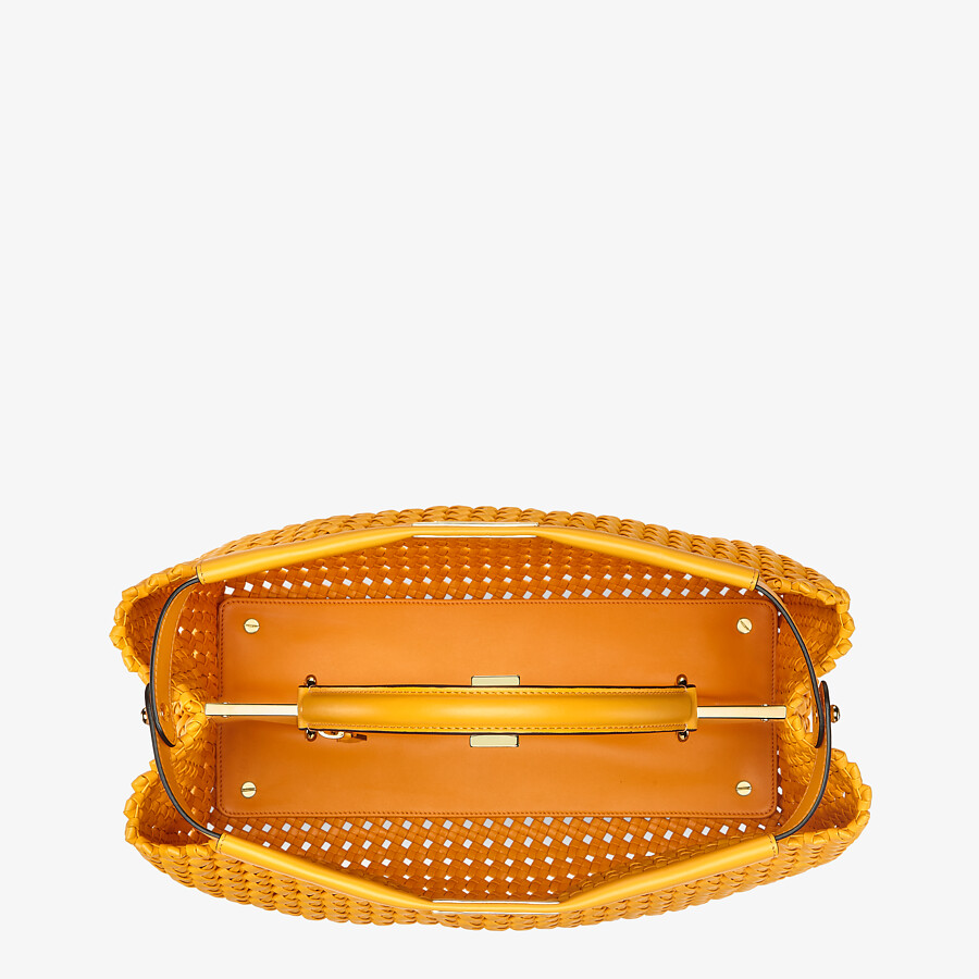 FENDI PEEKABOO ICONIC LARGE - Orange braided leather bag - view 4 detail