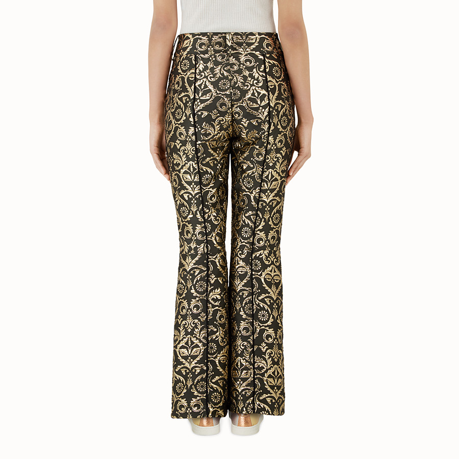 FENDI SKI TROUSERS - Padded trousers in gold brocade - view 2 detail
