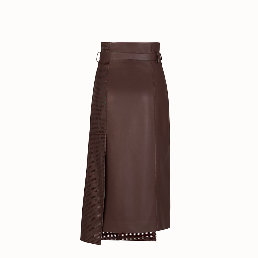 FENDI SKIRT - Brown nappa leather skirt - view 2 detail