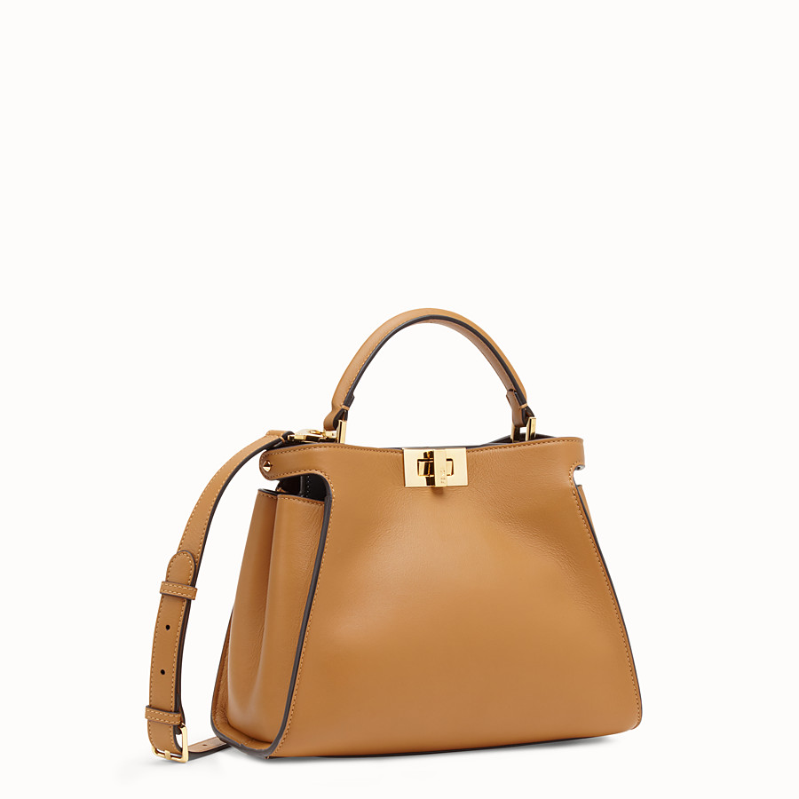 FENDI PEEKABOO ESSENTIAL - Brown leather bag - view 3 detail