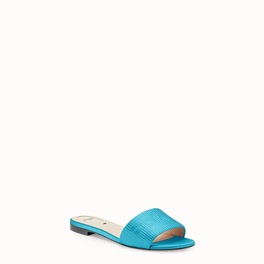 FENDI SABOTS - Turquoise satin slides - view 2 detail