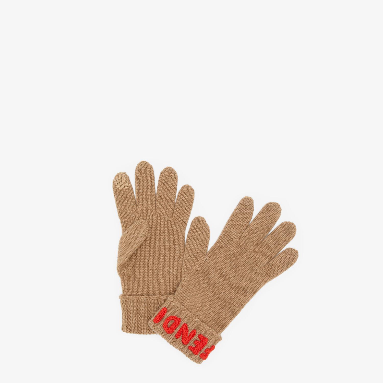 FENDI GLOVES - Beige wool gloves - view 1 detail
