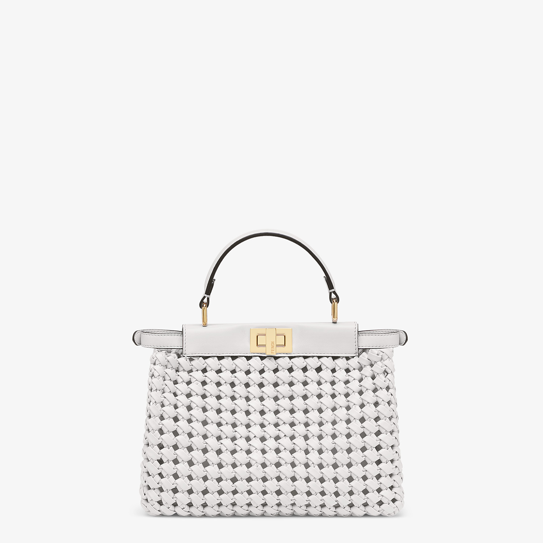 FENDI PEEKABOO ICONIC MINI - White leather interlace bag - view 4 detail