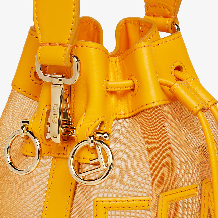 FENDI MON TRESOR - Orange leather and mesh mini-bag - view 6 detail