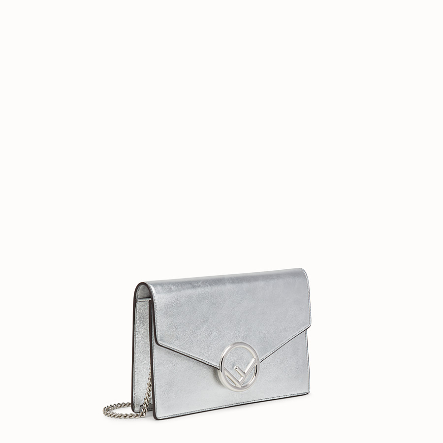 FENDI WALLET ON CHAIN - Silver leather mini-bag - view 2 detail