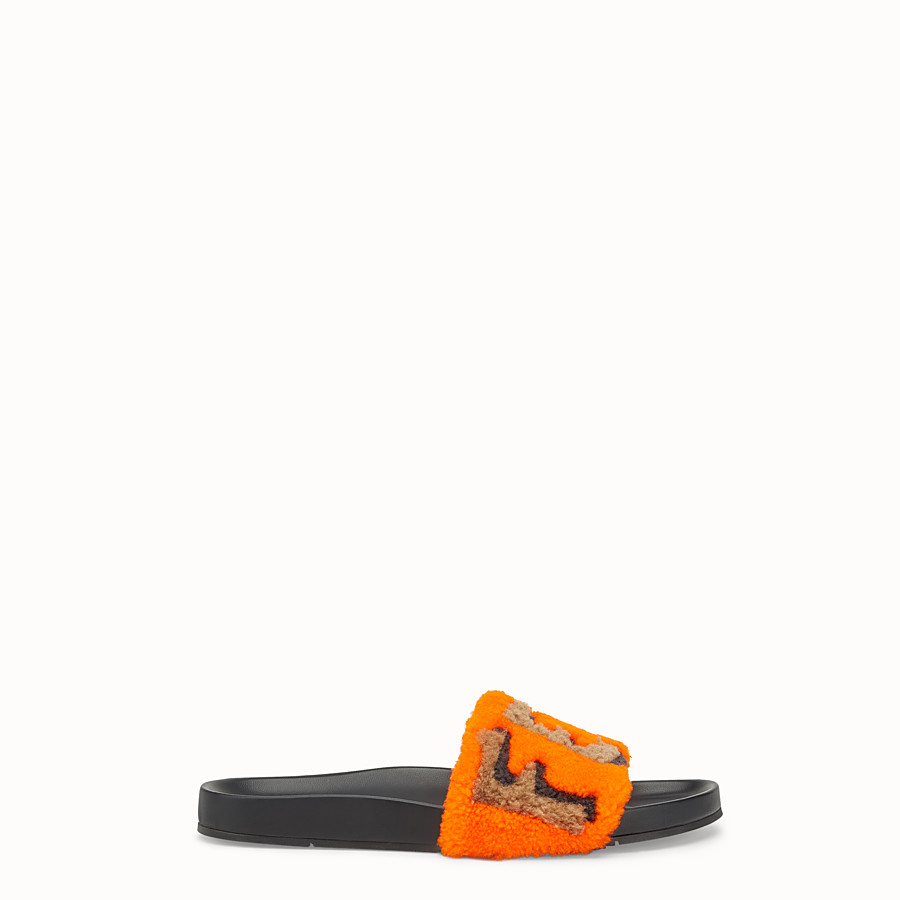 FENDI FLAT SANDALS - Slides in leather and orange sheepskin - view 1 detail