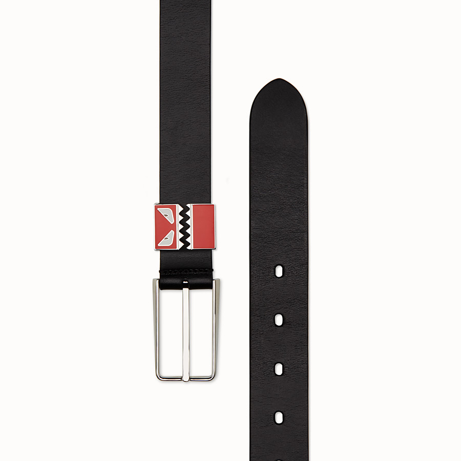 FENDI BELT - in black smooth leather - view 2 detail