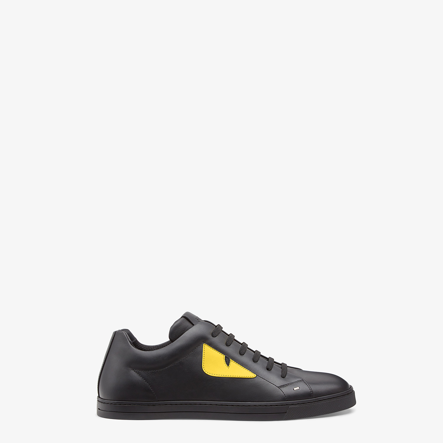 FENDI SNEAKERS - Black and yellow leather low-tops - view 1 detail