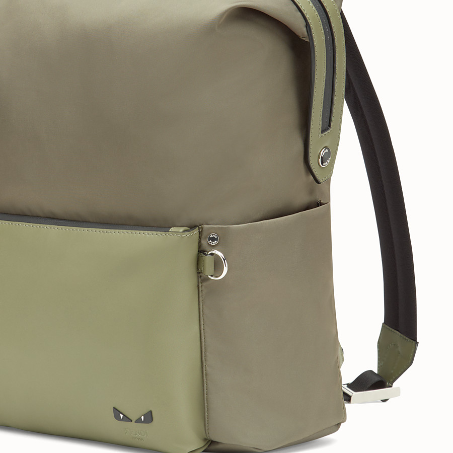 FENDI BACKPACK - Green nylon and leather backpack - view 4 detail