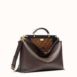 FENDI PEEKABOO ICONIC ESSENTIAL - Brown leather bag - view 2 thumbnail
