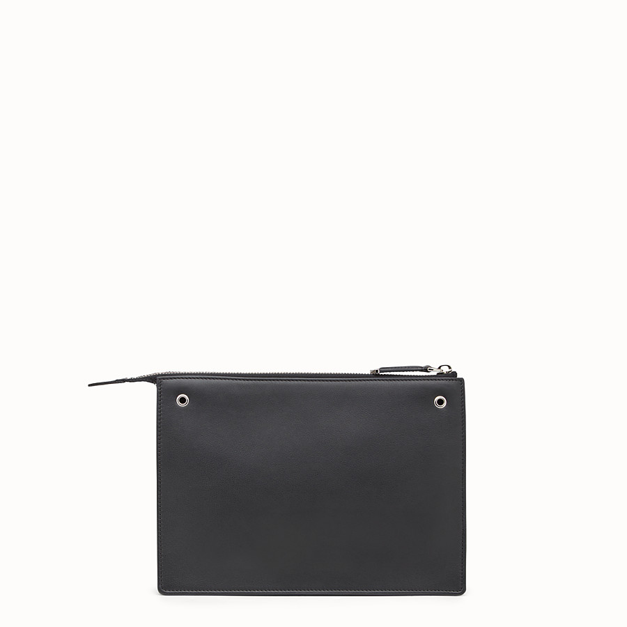 FENDI MINI POUCH - in black leather with multicoloured studs - view 3 detail
