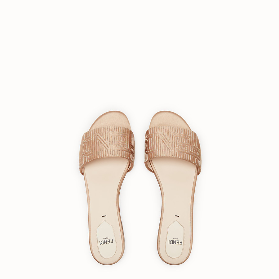 FENDI SABOTS - Beige satin slides - view 4 detail