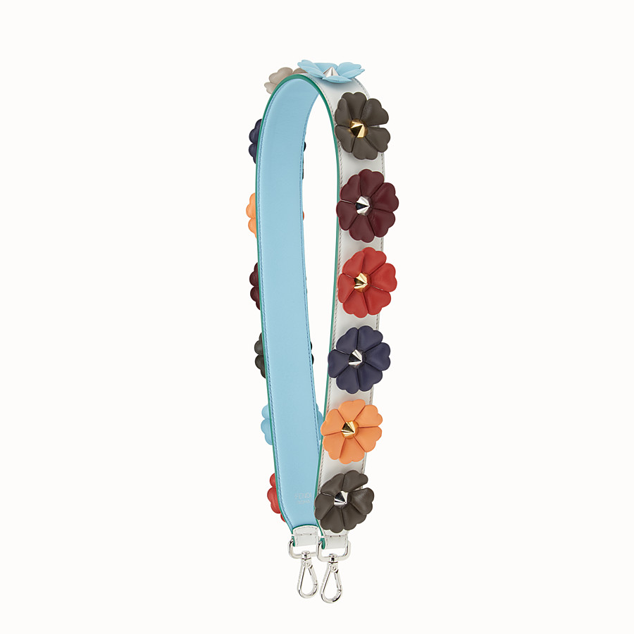 FENDI STRAP YOU - Shoulder strap in white leather with flowers - view 1 detail
