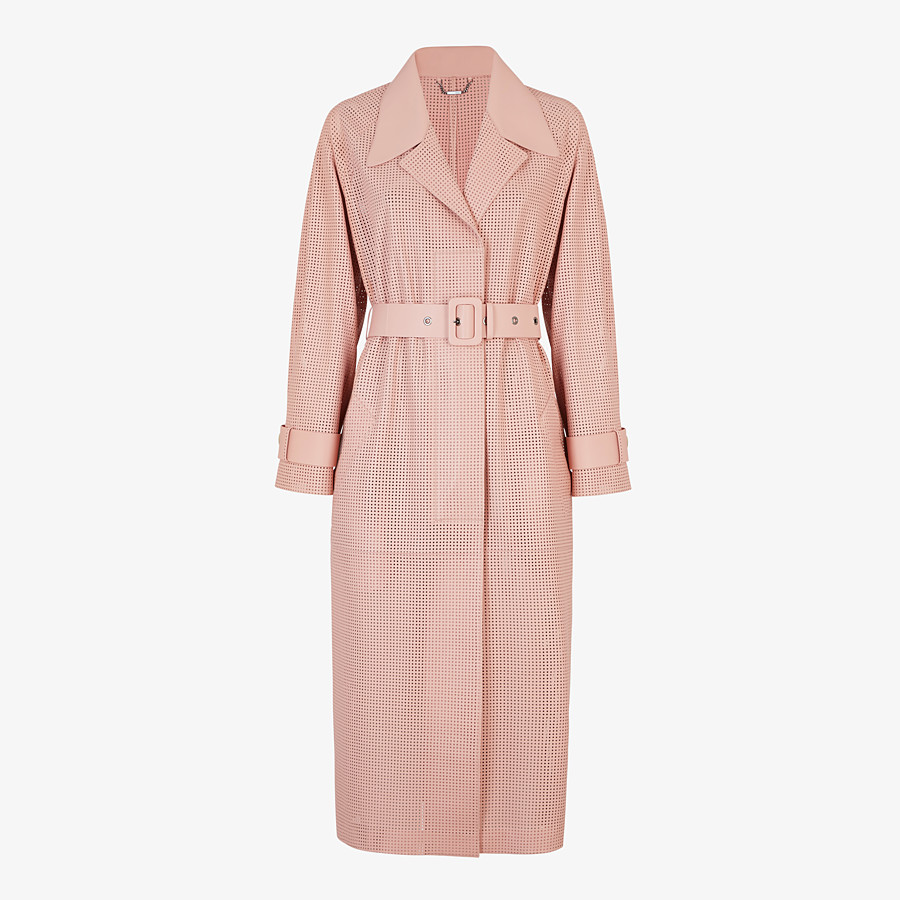 FENDI OVERCOAT - Pink leather trench coat - view 1 detail