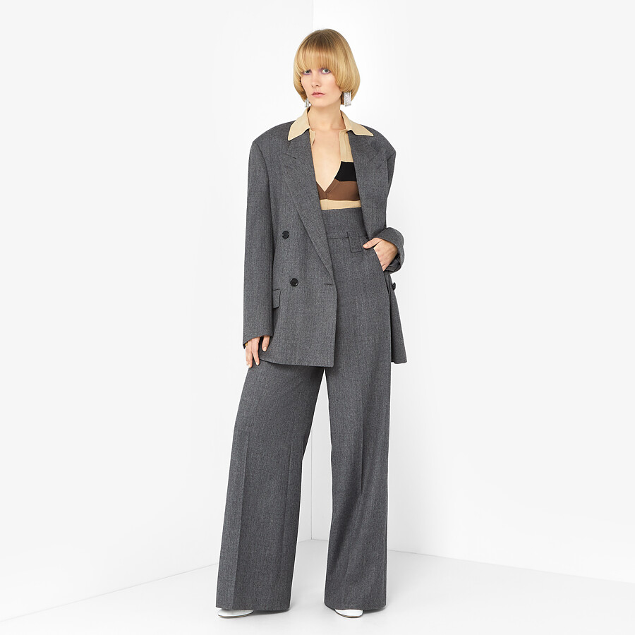 FENDI TROUSERS - Grey flannel trousers - view 4 detail