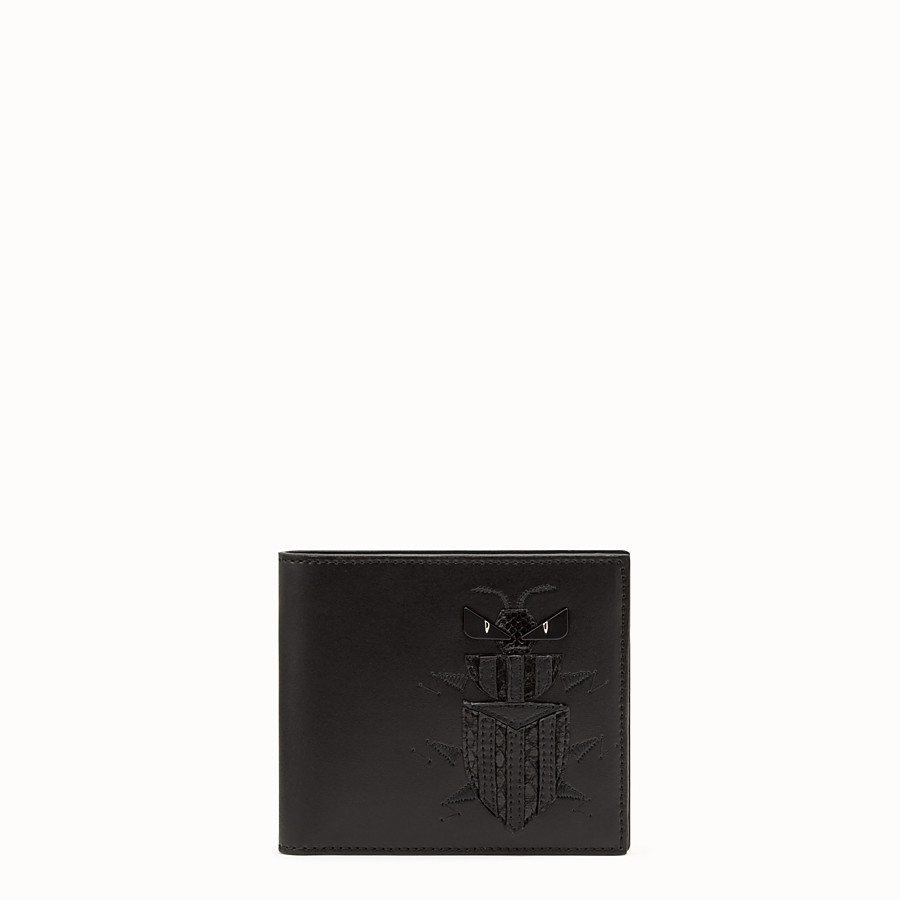 FENDI BI-FOLD WALLET - Black leather bi-fold wallet with exotic leather details - view 1 detail