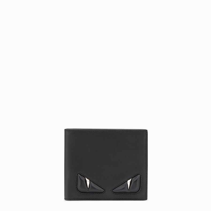 FENDI WALLET - Black leather bi-fold with inlays - view 1 detail
