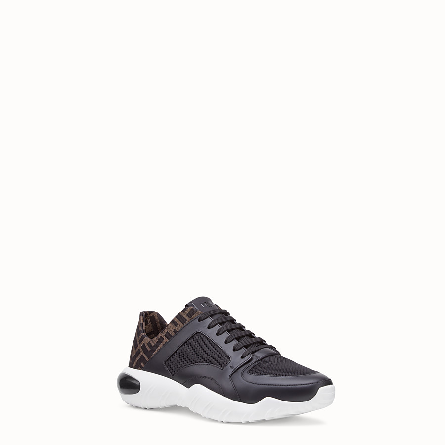 FENDI SNEAKERS - Black tech mesh and leather low-tops - view 2 detail