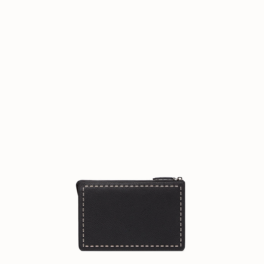 FENDI CLUTCH - in black Roman leather with metallic stitching - view 3 detail