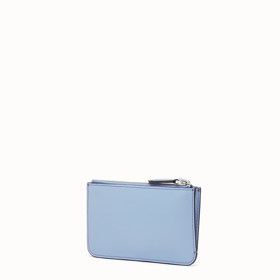 FENDI KEY RING POUCH - Light blue leather pouch - view 2 detail