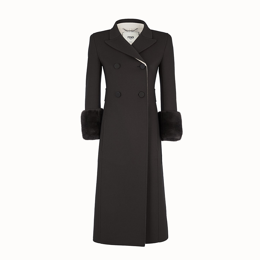 FENDI OVERCOAT - Black wool overcoat - view 1 detail