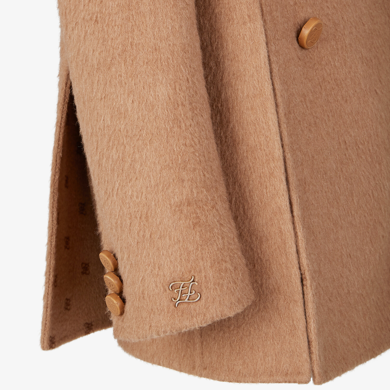 FENDI PEA COAT - Brown camel hair pea coat - view 3 detail