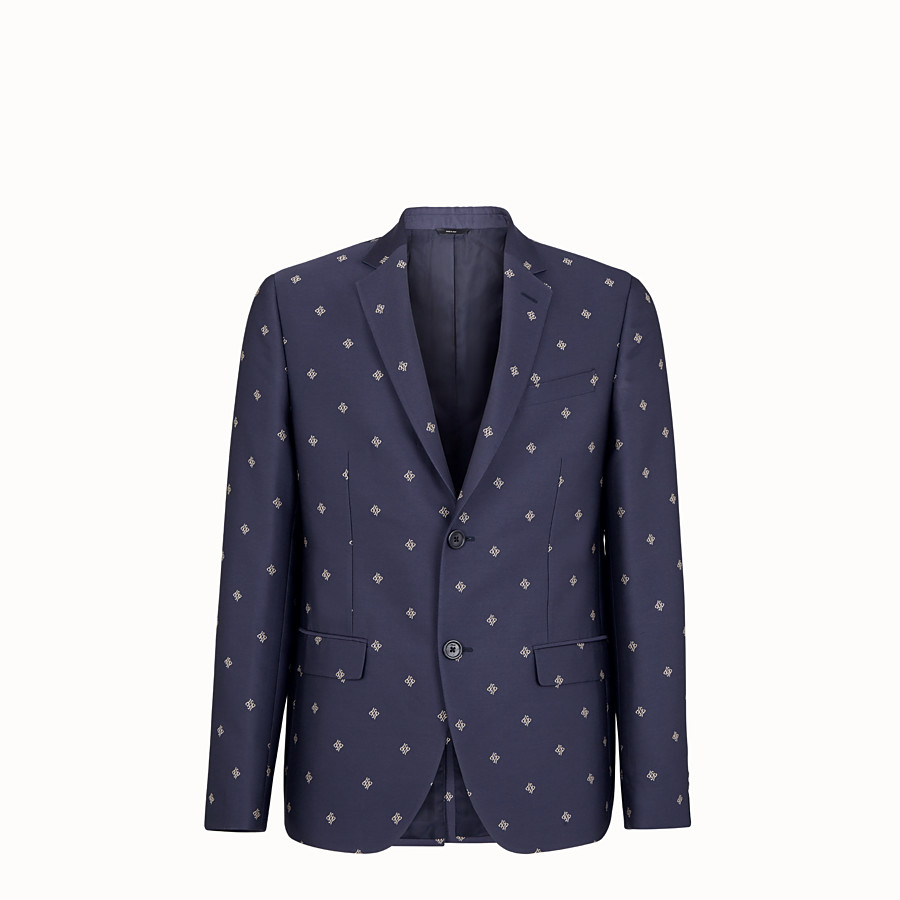 FENDI JACKET - Black wool, cotton and silk blazer - view 1 detail