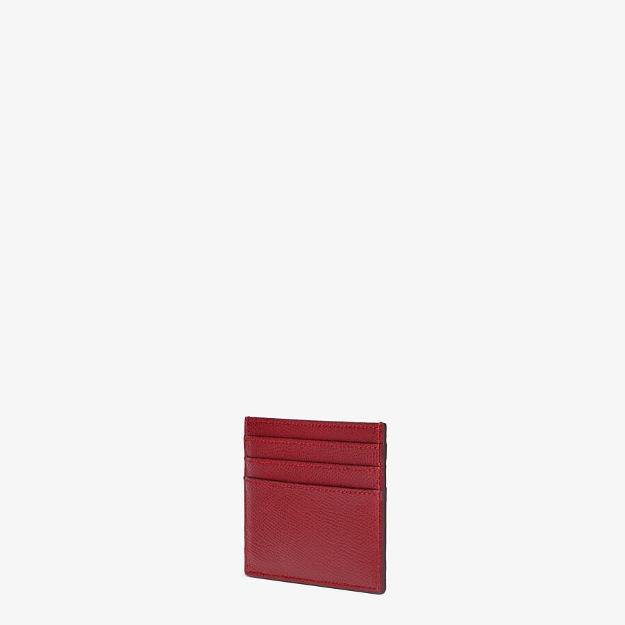 FENDI CARD CASE - Burgundy leather flat card holder - view 2 detail