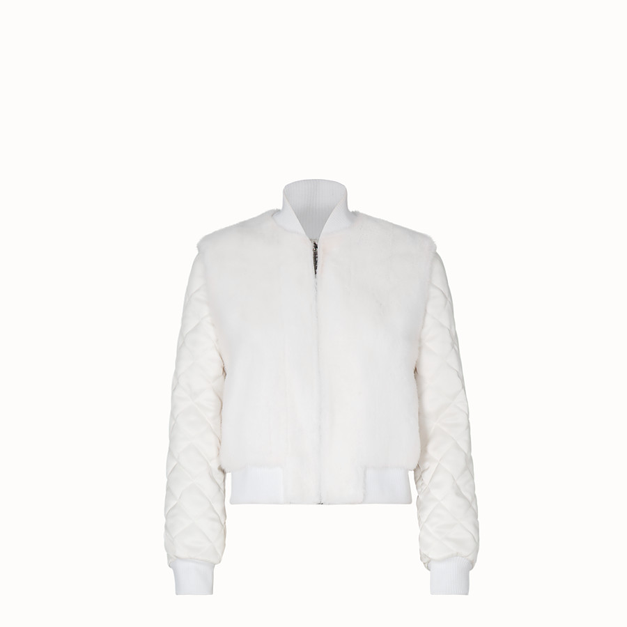 FENDI BOMBER - White fabric and fur bomber jacket - view 1 detail