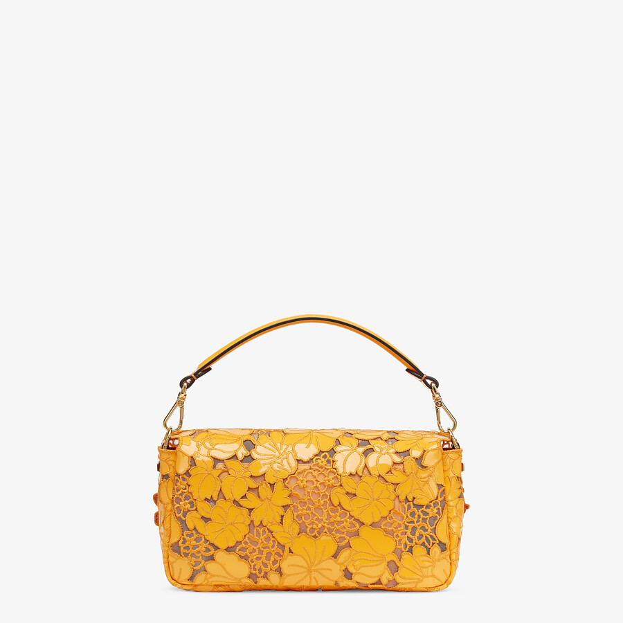 FENDI BAGUETTE - Embroidered orange patent leather bag - view 4 detail