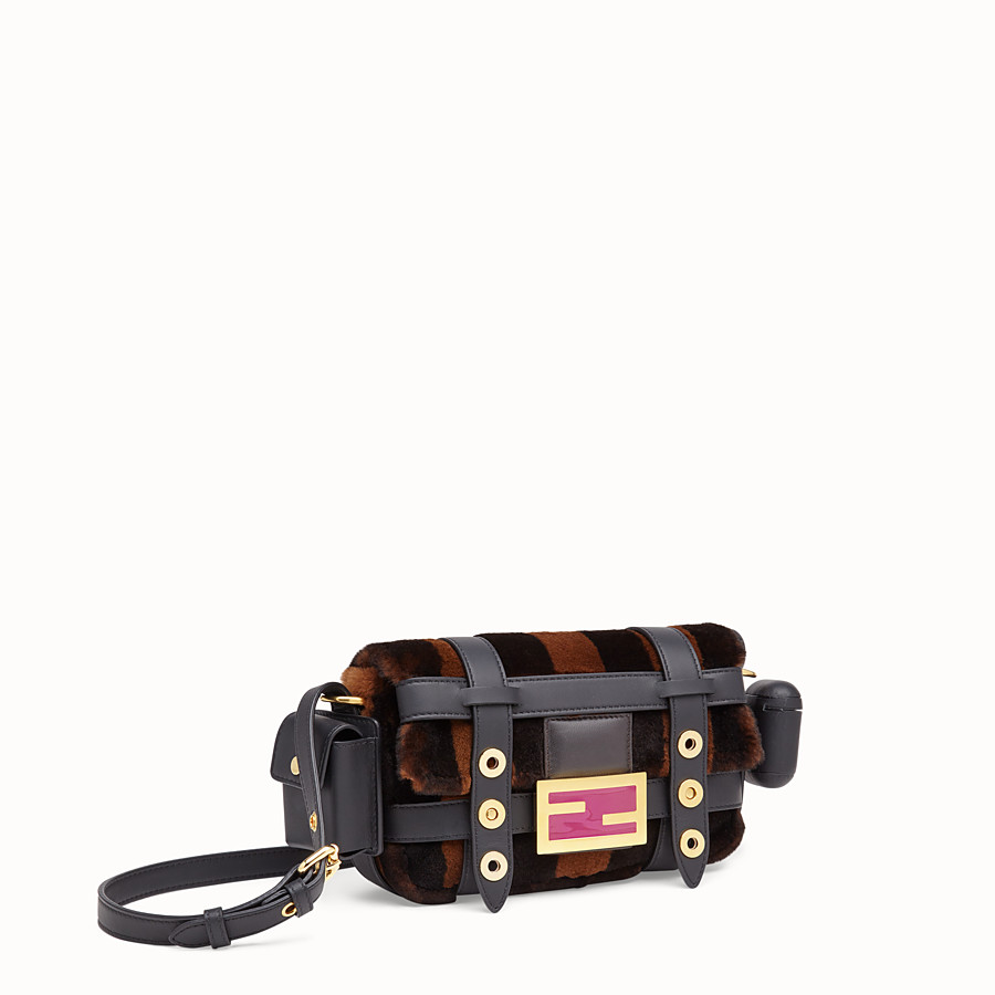 FENDI BAGUETTE MINI CAGE - Mink and black leather bag - view 3 detail
