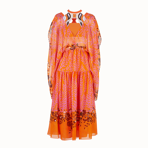 FENDI DRESS - Orange georgette dress - view 1 small thumbnail