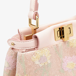 FENDI PEEKABOO ICONIC XS - Mini bag with pink embroidery decoration - view 6 thumbnail
