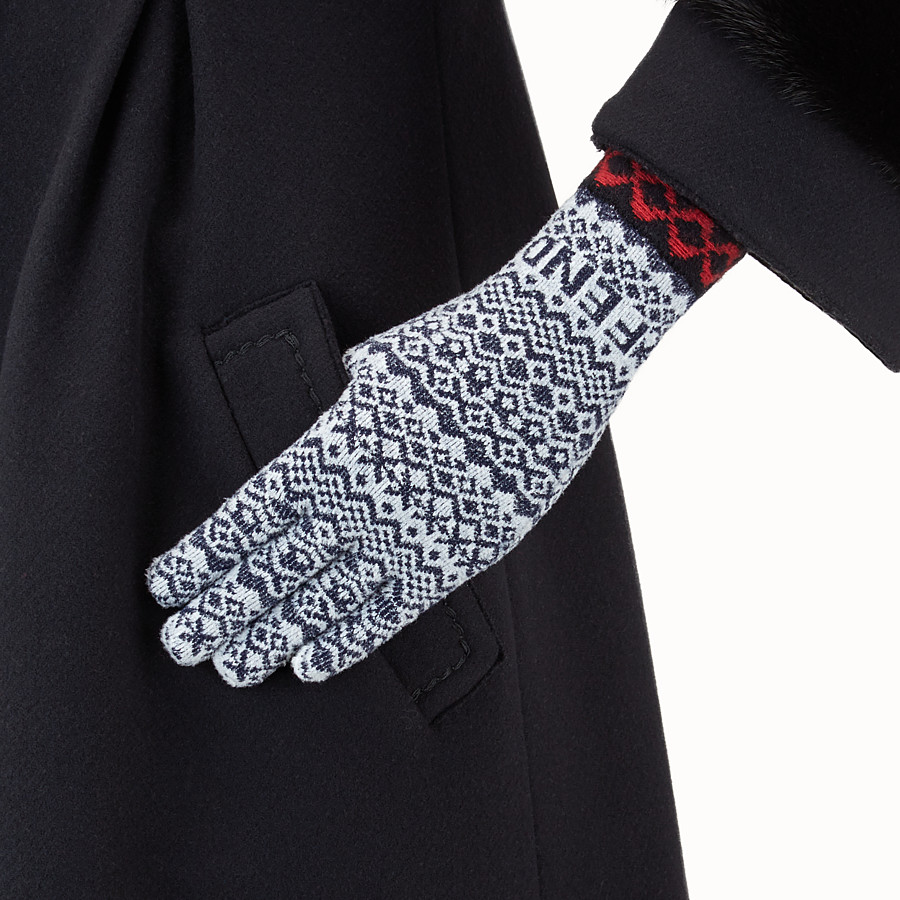 FENDI FENDI HERITAGE GLOVES - Multicolour wool and viscose gloves - view 2 detail