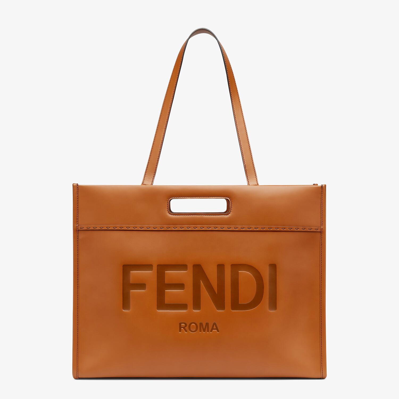 FENDI SHOPPING BAG - Brown leather shopper - view 2 detail