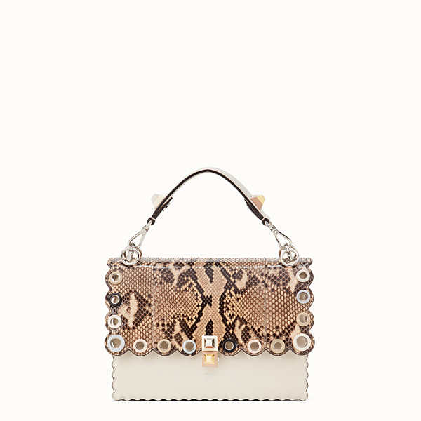 FENDI KAN I - White leather bag with exotic details - view 1 small thumbnail