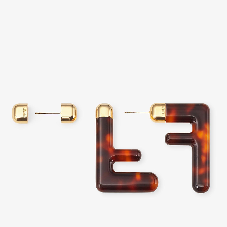 FENDI MEDIUM FF EARRINGS - Brown plexiglass earrings - view 3 detail