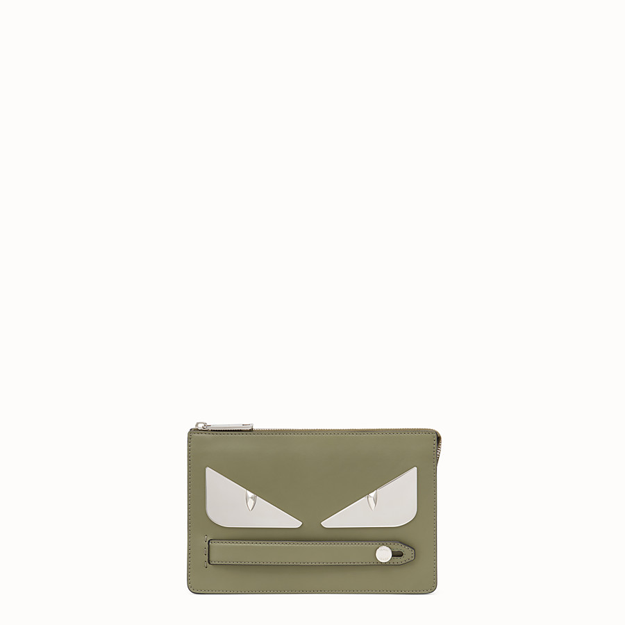 FENDI CLUTCH - Green leather pouch - view 1 detail