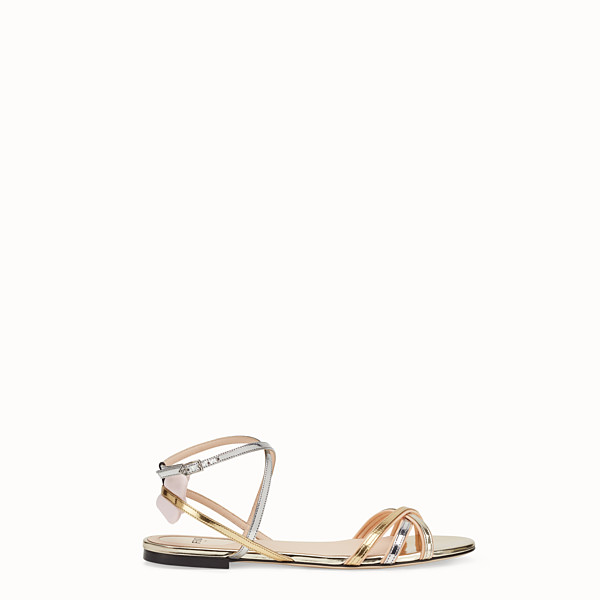 FENDI SANDALS - Multicolour laminated leather flats - view 1 small thumbnail